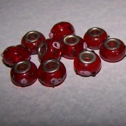 Rode glazen bead, Pandora stijl