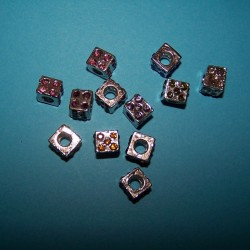 Dobbelsteen spacer, Tibet zilver, Pandora stijl