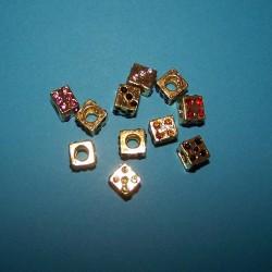 Dobbelsteen spacer, goudkleurig, Pandora stijl