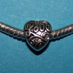 Hart spacer, Tibet zilver, Pandora stijl