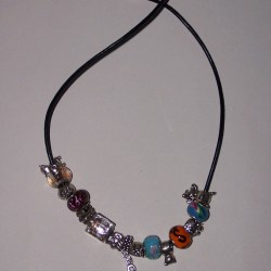 Pandora style collier, leren veter, model C