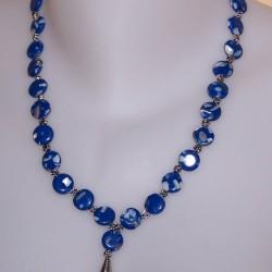 Blauw parelmoer Howliet en Tibet zilver collier