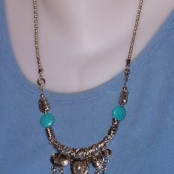 Exotisch Tibet zilver en turquoise Howliet collier