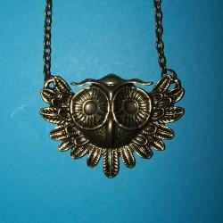 Collier met bronskleurige uil hanger, model D