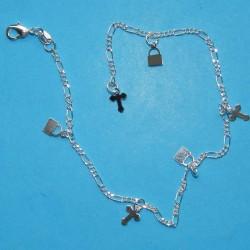 Zilverkleurig enkelbandje met kruisjes en hangslotjes