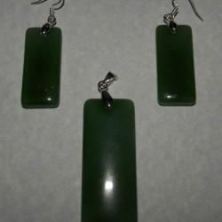 Groene Aventurijn hanger en oorbellen - set B
