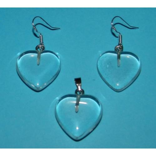 Bergkristal hartjes hanger en oorbellen set