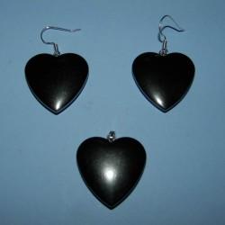 Hematiet hart hanger en oorbellen set