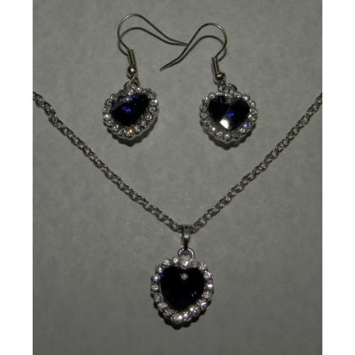 Blauw kristallen hart ketten en oorstekers set