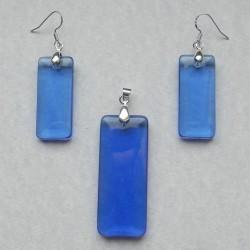 Blauwe Hydrothermal Kristal hanger en oorbellen, set A