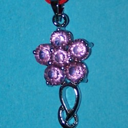 Bloem hanger, zilver met roze Swarovski