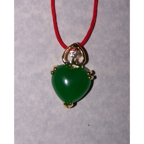 Hart hangertje, jade en goud, model B