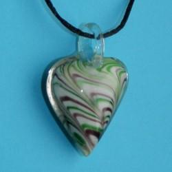 Fleurige Murano hart hanger, met halskoord