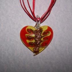 Geel en rode Murano hart hanger, met glitters en halskoord