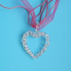 Witte Murano hart hanger, met halskoord