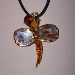 Groene Murano libelle hanger, met veter