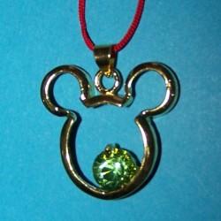 Mickey hanger, goud met groene Swarovski