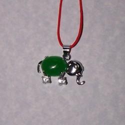 Olifant hanger, zilver en jade