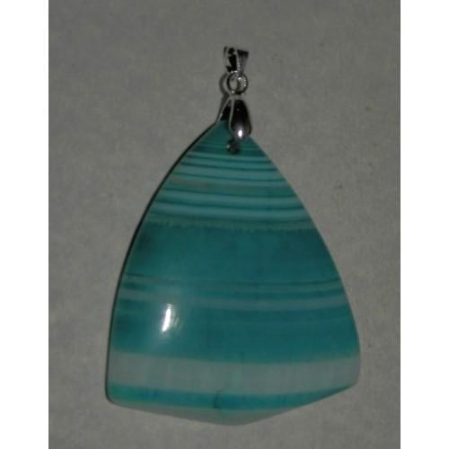 Blauwe Onyx Agaat hanger, steen B, met hangeroog