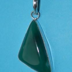 Groene Onyx Agaat hanger in zilveren vatting