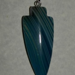 Blauwe Onyx Agaat pijlpunt hanger, model B
