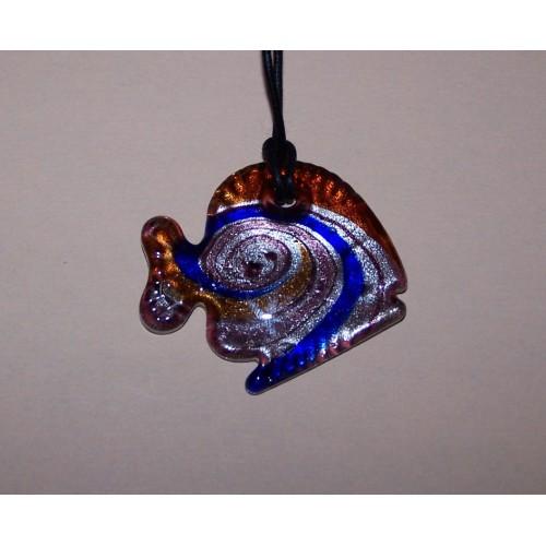 Fleurige Murano vis hanger, model A, met halskoord