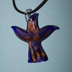 Blauwe Murano vogel hanger, met halskoord