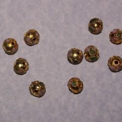 Goudkleurige cloisonné kraal, bol, 8mm