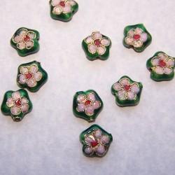 Flessengroene cloisonné bloem kraal