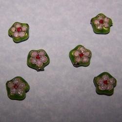 Groene cloisonné bloem kraal