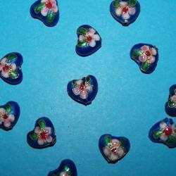 Blauwe cloisonné hartje kraal