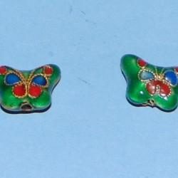 Blauwgroene cloisonné vlinder kraal