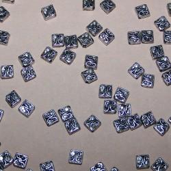 Kraal - vierkant - Tibet zilver - 4,5x6mm