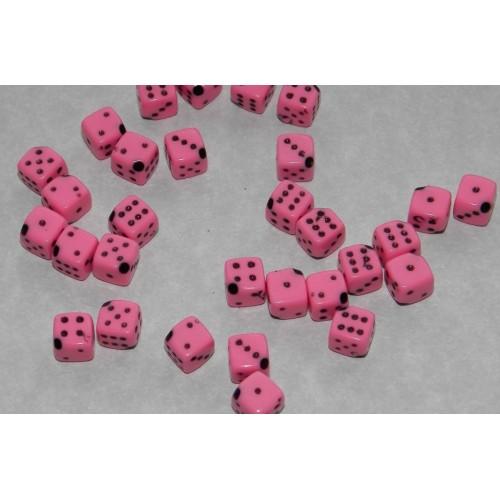 12 Dobbelsteen kralen - roze - 6mm