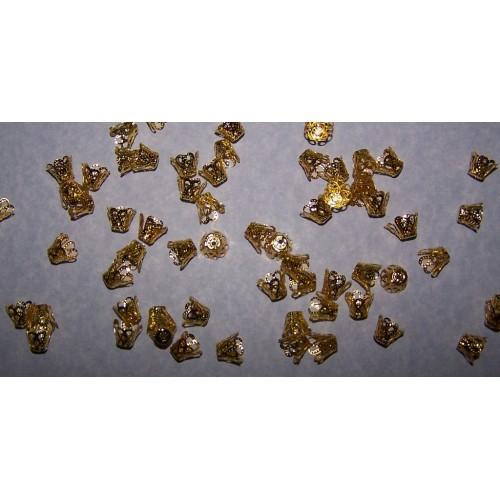 Kralenkapje, goudkleurig, filigraan, 9mm