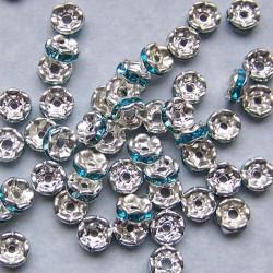Tibet zilveren kristal spacer, aqua, 6mm