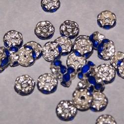 Tibet zilveren kristal spacer, diep blauw, 8mm