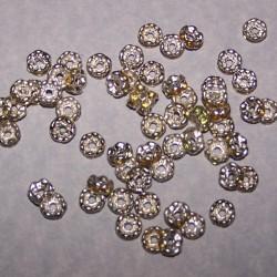Tibet zilveren kristal spacer, geel, 6mm