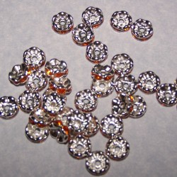 Tibet zilveren kristal spacer, oranje, 8mm