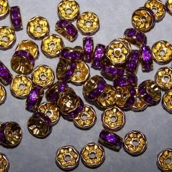 Goudkleurige kristal spacer, 8mm, paars