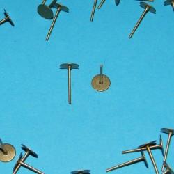 2 Oorstekers, brons, platte kop, 6mm