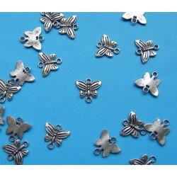 Tussenzetsel - 1 gat - vlinder model - Tibet zilver