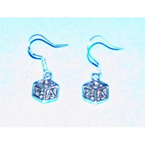 ABC blok oorbellen, Tibet zilver