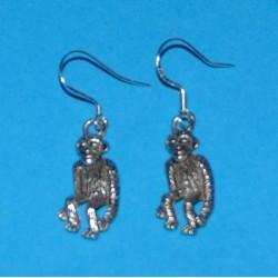 Aap oorbellen, Tibet zilver