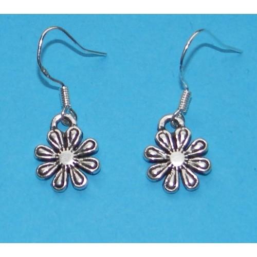 Bloem oorbellen, Tibet zilver, model E