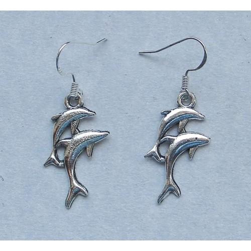 Dolfijnen oorbellen, Tibet zilver, model B