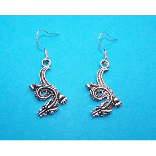 Draak oorbellen, Tibet zilver, model A