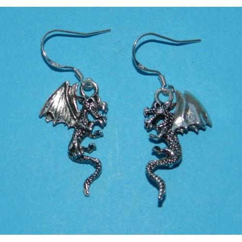 Draak oorbellen, Tibet zilver, model B