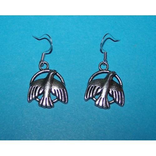 Duif oorbellen, Tibet zilver, model B