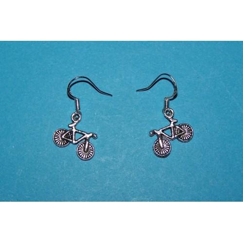 Fiets oorbellen, Tibet zilver
